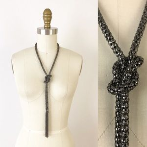 Jewelry - Knotted Metal Chain Lariat Necklace Fringe Boho